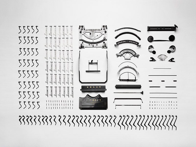 Typewriter taken apart